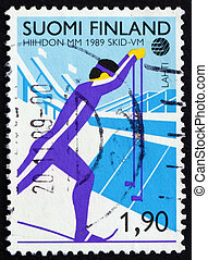 Postage stamp Finland 1989 Cross County Skiing