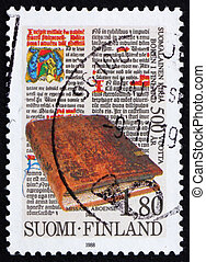 Postage stamp Finland 1989 The 1st printed book in Finland
