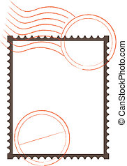 Frame with a postage stamp perforation with rubber stamp imprints