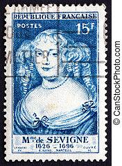 Postage stamp France 1950 Marie de Rabutin-Chantal, Marquise...