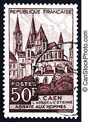 Postage stamp France 1951 Abbaye aux Hommes, Caen - FRANCE -...