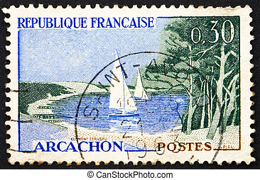 FRANCE - CIRCA 1961: a stamp printed in the France shows Beach and Sailboats, Arcachon, France, circa 1961