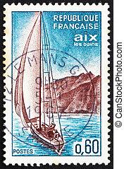 FRANCE - CIRCA 1965: a stamp printed in the France shows Sailboat, Aix-les-Bains, circa 1965
