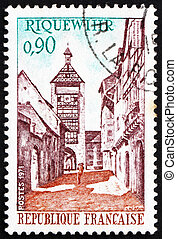 Postage stamp France 1971 Tower and Street, Riquewihr,...