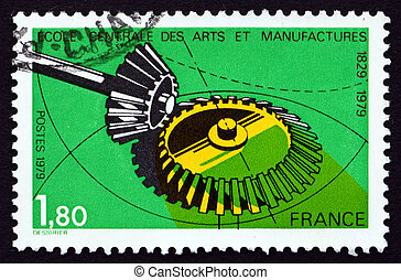 Postage stamp France 1979 Gears