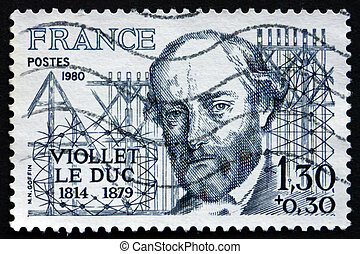 Postage stamp France 1980 Eugene Viollet le Duc, Architect -...