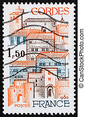 Postage stamp France 1980 View of City of Cordes, France -...