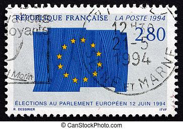 Postage stamp France 1994 Flag of European Union - FRANCE -...