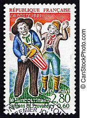 FRANCE - CIRCA 1995: a stamp printed in the France shows The Simpleton and the Tambour Player, Provencal Nativity Figures, circa 1995