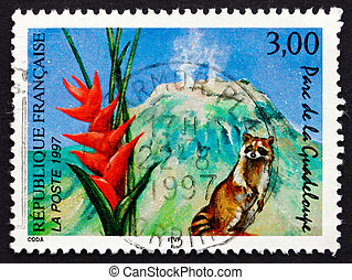 FRANCE - CIRCA 1997: a stamp printed in the France shows Guadeloupe National Park, circa 1997