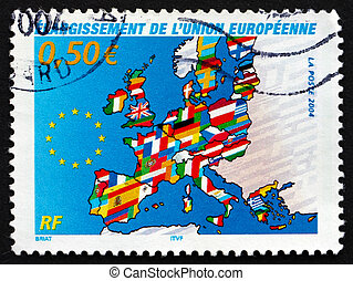 Postage stamp France 2004 Map of Europe - FRANCE - CIRCA...