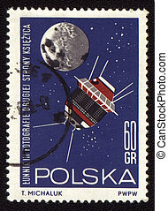 Postage stamp from Poland with soviet spaceship Luna-3