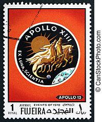 Postage stamp Fujeira 1970 Emblem, Apollo 13
