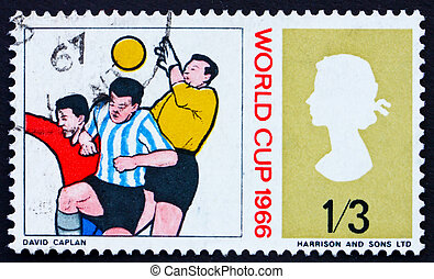 Postage stamp GB 1966 Goalkeeper and Two Soccer Players -...