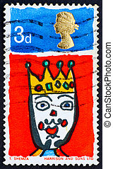 Postage stamp GB 1966 Picture of King, Christmas stamp -...