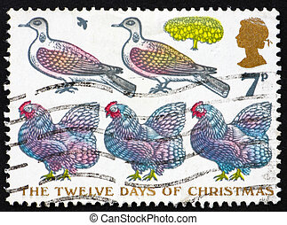 Postage stamp GB 1977 Two Turtle Doves and Three French Hens...