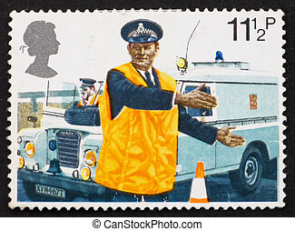 Postage stamp GB 1979 Police constable directing traffic