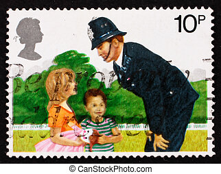 Postage stamp GB 1979 Police Constable and Children - GREAT...