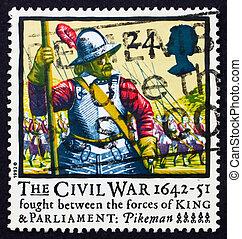 Postage stamp GB 1992 Pikeman - GREAT BRITAIN - CIRCA 1992:...