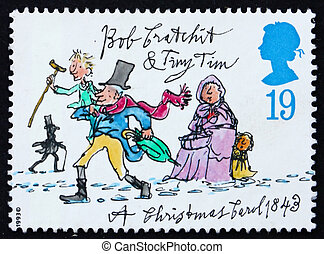 GREAT BRITAIN - CIRCA 1993: a stamp printed in the Great Britain shows Tiny Tim and Bob Cratchit, Christmas carol by Charles Dickens, circa 1993