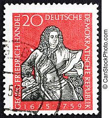 Postage stamp GDR 1959 George Frederick Handel, Composer -...
