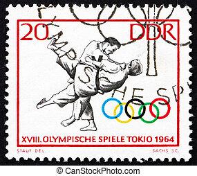 Postage stamp GDR 1964 Judo, Tokyo 64