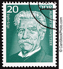 Postage stamp GDR 1975 Albert Schweitzer, Medical Missionary...