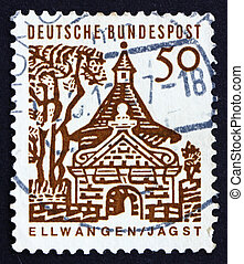 GERMANY - CIRCA 1964: a stamp printed in the Germany shows Castle Gate, Ellwangen, circa 1964