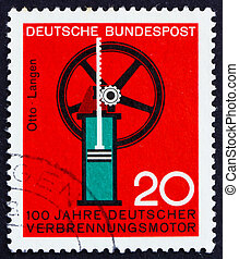 GERMANY - CIRCA 1964: a stamp printed in the Germany shows Internal combustion engine, Nikolaus August Otto and Eugen Langen, circa 1964
