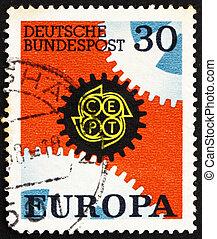 Postage stamp Germany 1967 Cogwheels, Europe