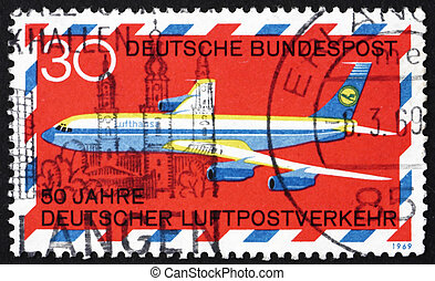 GERMANY - CIRCA 1969: a stamp printed in the Germany shows Boeing 707, 50th Anniversary of German Airmail Service, circa 1969