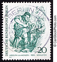GERMANY - CIRCA 1969: a stamp printed in the Germany shows Cobbler, by Adolph von Menzel, circa 1969