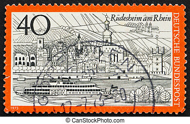 Postage stamp Germany 1973 Rudesheim am Rhein, Germany -...