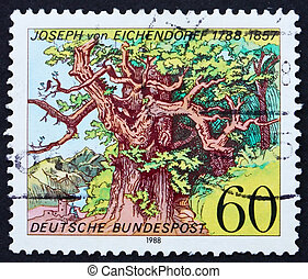 Postage stamp Germany 1988 Woodcut by Ludwig Richter -...