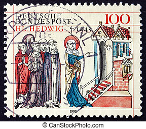 GERMANY - CIRCA 1993: a stamp printed in the Germany shows St. Hedwig of Silesia, 750th Death Anniversary, circa 1993