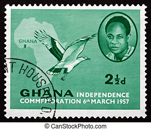 GHANA - CIRCA 1957: a stamp printed in Ghana shows Kwame Nkrumah, the First President of Ghana, Map of Africa and Palm-nut Vulture, circa 1957