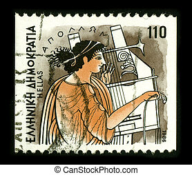 GREECE - CIRCA 1986: A stamp dedicated to the Apollo is one of the most important and diverse of the Olympian deities in Greek and Roman mythology, circa 1986.