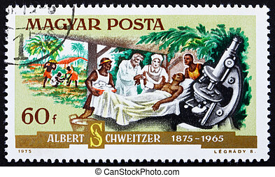 HUNGARY - CIRCA 1975: a stamp printed in the Hungary shows Dr. Albert Schweitzer, Patient and Microscope, Medical Missionary and Musician, circa 1975