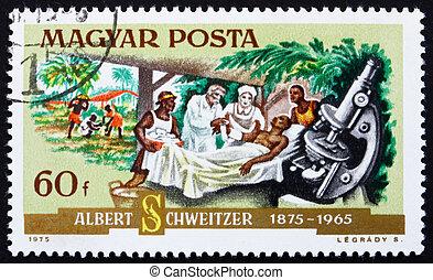 Postage stamp Hungary 1975 Dr. Albert Schweitzer and Patient...