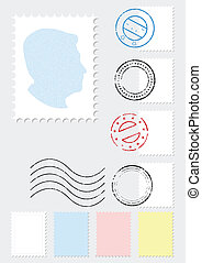 A set of different stamps and postmarks. All vector illustration objects are isolated. Stamp colors and gray background color are easy to customize/adjust.