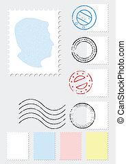 Postage stamp illustration set. - A set of different stamps ...