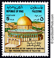 IRAQ - CIRCA 1977: a stamp printed in the Iraq shows Dome of the Rock, Jerusalem, circa 1977