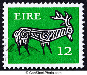 Postage stamp Ireland 1974 Stag from Ancient bowl - IRELAND...