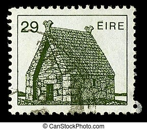 IRELAND-CIRCA 1982:A stamp printed in IRELAND shows image of Oratory of St. Macdara Island, circa 1982.