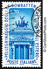 ITALY - CIRCA 1964: a stamp printed in the Italy shows Left Arch of Victor Emmanuel Monument, Rome, Pilgrimage to Rome of Veterans Living abroad, circa 1964