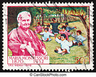 ITALY - CIRCA 1970: a stamp printed in the Italy shows Dr. Maria Montessori and Children, Educator and Physician, circa 1970
