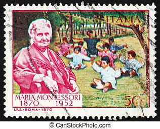 Postage stamp Italy 1970 Dr. Maria Montessori and Children...