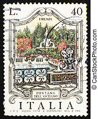 Postage stamp Italy 1974 Oceanus Fountain, Florence - ITALY...