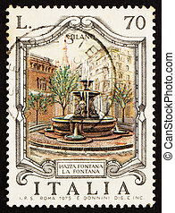 Postage stamp Italy 1975 Piazza Fontana, Milan, Italy -...