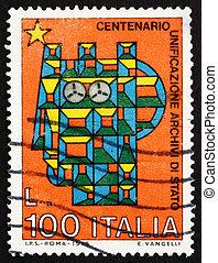 Postage stamp Italy 1975 Stylized Syracusean Italia